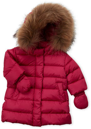 ADD Newborn/Infant Girls) Fuchsia Real Fur Trim Hooded Down Coat