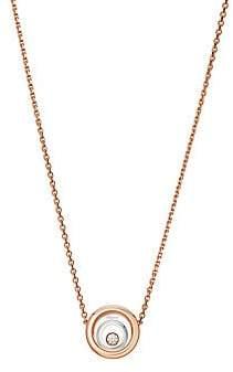 Chopard Women's Happy Spirit Diamond, 18K Rose & White Gold Double Circle Pendant Necklace