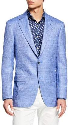 Canali Men's Tonal Check Two-Button Silk/Cashmere Jacket