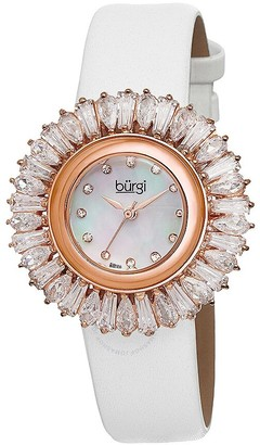 Burgi White Baguette Crystal Bezel Mother of Pearl Dial Ladies Watch