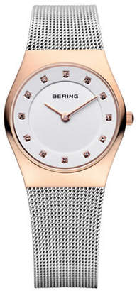 HBC BERING Silvertone Classic Stainless Steel and Crystal Strap Watch