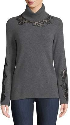 Neiman Marcus Cashmere Lace-Trim Turtleneck Sweater