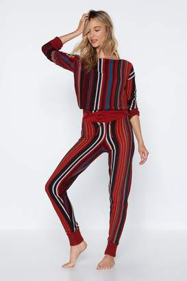 Nasty Gal Back in Line Striped Sweater and Bottoms Set