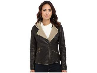 Levi's Asymmetrical Faux Leather Hooded Moto w/ Sherpa