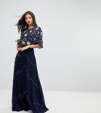 Asos Tall DESIGN Tall Bridesmaid embellished floral flutter sleeve maxi dress
