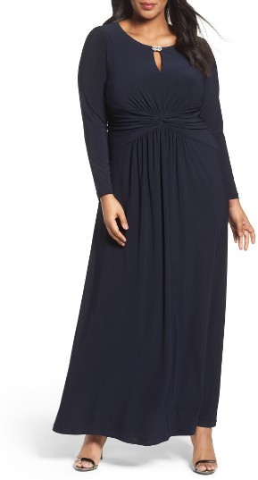 Alex EveningsPlus Size Women's Alex Evenings Long A-Line Dress With Ruched Waist