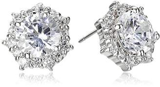 Kenneth Jay Lane CZ by Round Cubic Zirconia Halo Stud Earrings