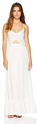 Oasis Wild Beachwear Women's V Neck Spaghetti Strap Cut Out Solid Maxi Dress