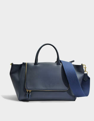 Anya Hindmarch Vere Tote Bag in Navy Grained Leather