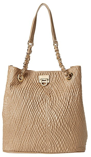 Ivanka Trump Quilted Glaze Rebecca Bucket Shopper (Beige) - Bags and Luggage