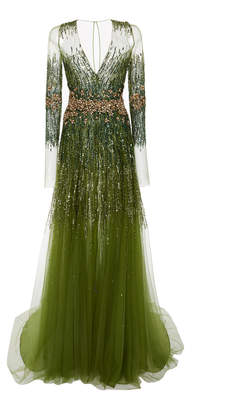 Pamella Roland Sequin and Crystal V-Neck Tulle Gown