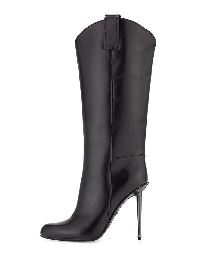 Tom Ford Leather Mid-Calf Western-Cut Stiletto Boot, Black/Gunmetal
