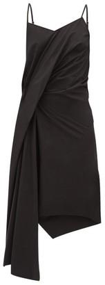 Marques Almeida Marques'almeida - Gathered Asymmetric Poplin Slip Dress - Womens - Black
