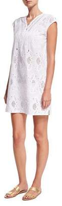 Seafolly Broderie Cap-Sleeve Eyelet Coverup Dress