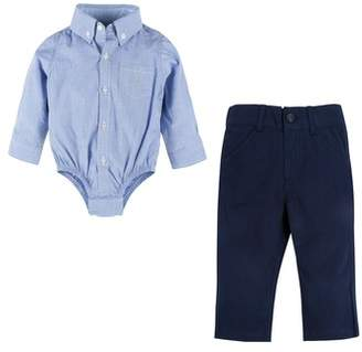 Andy & Evan Shirtzie Chambray Bodysuit & Pants Set