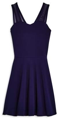 Aqua Girls' Knit Dress with Mesh Straps, Big Kid - 100% Exclusive