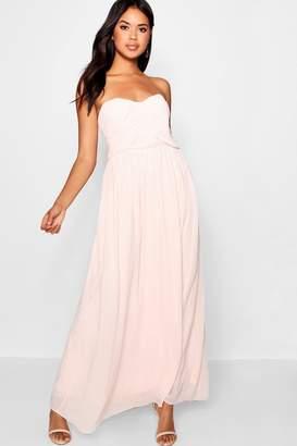 boohoo Pleated Chiffon Top Bandeau Maxi Dress
