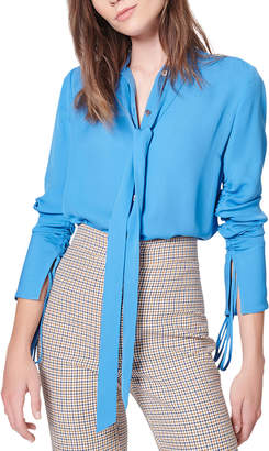 Veronica Beard Remi Ruched Tie-Neck Silk Blouse