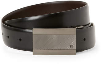 Perry Ellis Portfolio Black Emery Plaque Reversible Belt