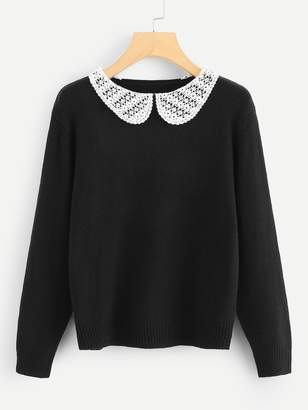 Shein Contrast Lace Peter Pan Collar Sweater