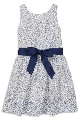 Ralph Lauren Girls' Cotton Floral Dress with Sash - Little Kid