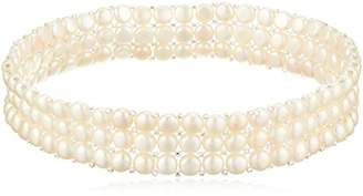 """Bella Pearl 15"""" 3 Row Elastic with Glass Beads Choker Necklace"""