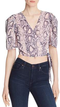 Aqua Snake Print Cropped Wrap Top - 100% Exclusive