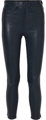 Rag & Bone High-rise Leather Skinny Pants - Navy