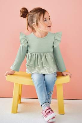 Next Girls Mint Long Sleeve Broderie Top (3mths-7yrs)