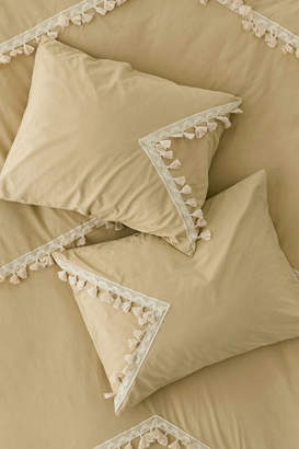 Washed Cotton Crochet Tassel Sham Set
