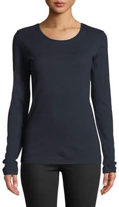 Neiman Marcus Majestic Paris for Cathy Crewneck Cotton-Cashmere Top