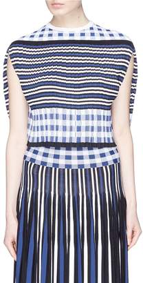 Sonia Rykiel Stripe check pleated knit cape top