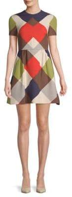 Valentino Geometric-Print Short-Sleeve Mini Dress