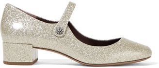 Marc Jacobs - Lexi Glittered Patent-leather Mary Jane Pumps - Silver $350 thestylecure.com