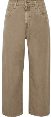 Current/Elliott - The Pleated Barrel Linen And Cotton-blend Wide-leg Pants - Army green $220 thestylecure.com