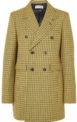 Balenciaga Double-breasted Houndstooth Wool Jacket - Yellow