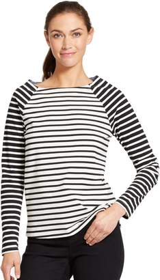 Izod Women's Striped Elbow-Patch Top