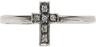 Luka Sabbat X Monini Luka Sabbat x Monini Silver and White Diamond Baby Cross Ring