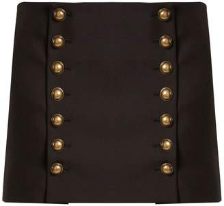 Saint Laurent Button-detail wool-gabardine mini skirt