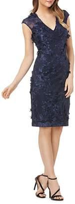 Carmen Marc Valvo Floral Appliqué Dress