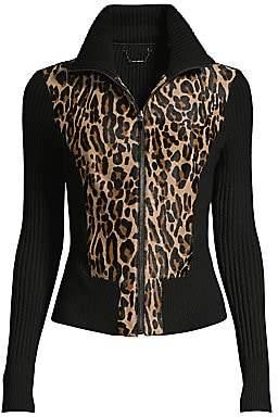 Elie Tahari Women's Evita Jaguar Calf Hair Rib-Knit Jacket