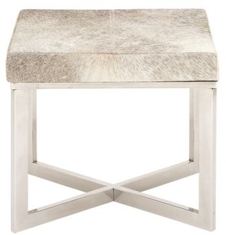DecMode Decmode 19 Inch Modern Gray Hide Leather Covered Wooden Stool With Stainless Steel Legs, White