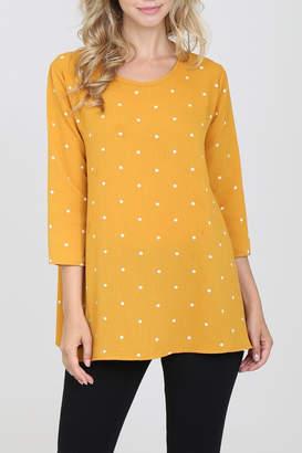 Riah Fashion 3/4-Sleeved-Keyhole-Back Polka-Dot Blouse