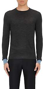 Lanvin Men's Merino Wool Piqué-Knit Sweater - Dark Gray