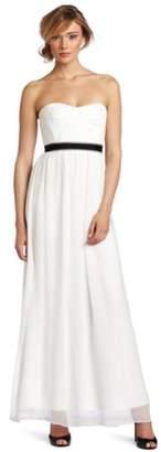BCBGMAXAZRIA Women's Amber Cascade Strapless Long Evening Gown