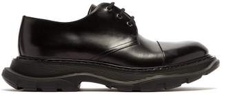 Alexander Mcqueen - Raised Sole Leather Derby Shoes - Mens - Black