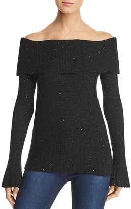 Design History Off-the-Shoulder Sparkle Sweater