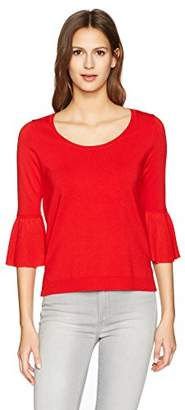 525 America 527 America Women's Scoop Neck with Ruffle Sleeve Sweater