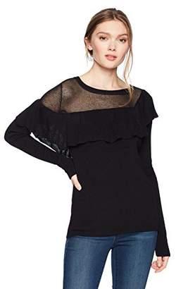 Cable Stitch Women's Asymmetrical Ruffle Sweater