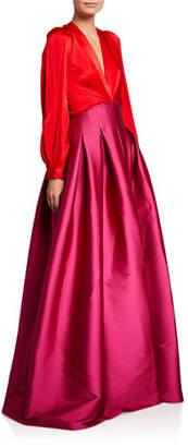 Sachin + Babi Juliette Colorblock V-Neck Long-Sleeve Gown w/ Twill Skirt